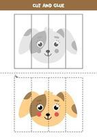 Spiel zum Schneiden und Kleben für Kinder. niedlicher Cartoonhund. vektor