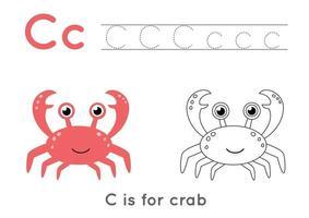 Färbe- und Verfolgungsseite mit Buchstabe c und niedlicher Cartoonkrabbe. vektor