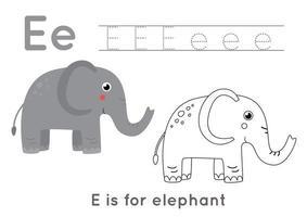färg- och spårningssida med bokstaven e och söt tecknad elefant. vektor