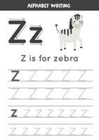 handstil övning med alfabetet bokstaven. spåra z. vektor