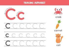 c ist für Katze, Krabbe, Karotte. Arbeitsblatt zur Verfolgung des englischen Alphabets. vektor