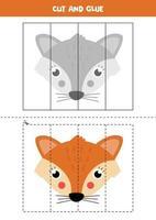 Schneiden Sie niedlichen Karton Fuchs und kleben Sie es. vektor