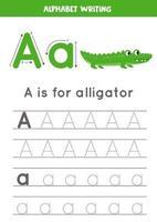 spåra alfabetet bokstaven a med söt tecknad alligator. vektor