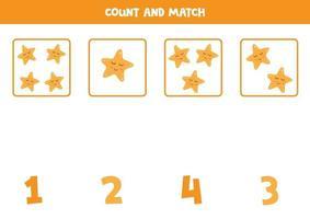 räkna spel med söta tecknade sjöstjärnor. matematikspel. vektor
