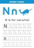 handstil övning med alfabetet bokstaven. spårning n. vektor