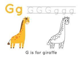 målarbok med bokstaven g och söt tecknad giraff. vektor