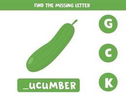 Finde den fehlenden Brief und schreibe ihn auf. süße Gurke. vektor