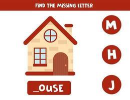 Finde den fehlenden Brief und schreibe ihn auf. niedliches Cartoonhaus. vektor