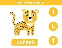 hitta saknat brev och skriv ner det. söt leopard. vektor