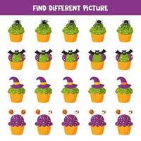Finde ein anderes Bild von Halloween Cupcake. Spiel für Kinder. vektor