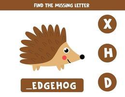 Finde den fehlenden Brief und schreibe ihn auf. niedlicher Cartoonigel. vektor