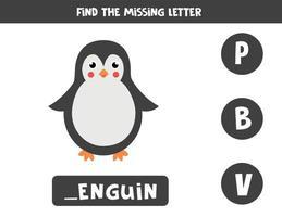 Finde den fehlenden Brief und schreibe ihn auf. süßer Cartoon-Pinguin. vektor