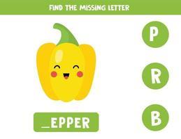 Finde den fehlenden Buchstaben mit süßem Cartoon-Pfeffer. vektor