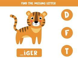 Finde den fehlenden Brief und schreibe ihn auf. niedlicher Cartoon-Tiger. vektor