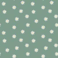 stilvoller nahtloser tiefgrüner Hintergrund mit Kamillenblüten. moderner Blumendruck. ideal für Stoff, Tapete, Textil, Verpackung. Vektor einfache Vorlage.
