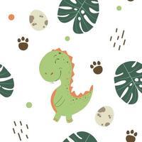 kindisch nahtloses Muster mit handgezeichnetem Dino im skandinavischen Stil. coole T-Rex-Illustration für Kinderzimmer-T-Shirt, Kinderbekleidung, Einladungsabdeckung, einfaches Kinderhintergrunddesign. Vektorillustration. vektor