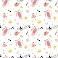 Vektor nahtloses Muster mit rosa Spitzenschuhen, Herzen, Notizen, Schmetterlingen, Konfetti und Kronen. handgezeichneter Balletthintergrund. Party für Mädchen, kleine Ballerina, Babyparty.