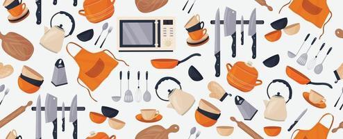 Vektor nahtloses Muster mit verschiedenen Küchenzubehör auf einem weißen Hintergrund. Küchenutensilien. ein Topf, ein Wasserkocher, Messer, Teller, Tassen ...