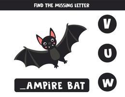 Finde den fehlenden Buchstaben mit der niedlichen Cartoon-Vampirfledermaus. vektor