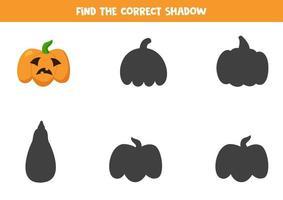 hitta skuggan av spooky halloween jack o lanternpumpa. vektor