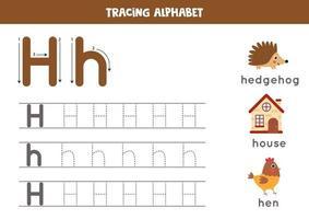 spåra alfabetet bokstaven h med söta tecknade bilder. vektor