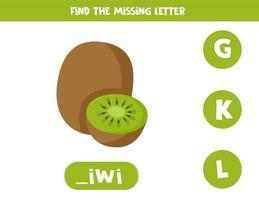 hitta saknad bokstav i ord. söt tecknad kiwi. vektor