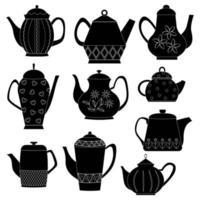 Vektorsatz von Silhouetten von Teekannen. Küchenutensilien. flacher Vektor. eine Reihe von Teekannen. vektor