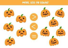 mehr, weniger, gleichbedeutend mit gruseligen Halloween-Kürbissen. vektor