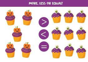 Vergleich für Kinder im Vorschulalter. Mathe-Spiel mit Halloween-Cupcakes. vektor