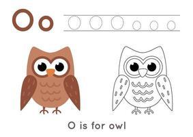 färg- och spårningssida med bokstaven o och söt tecknad uggla. vektor