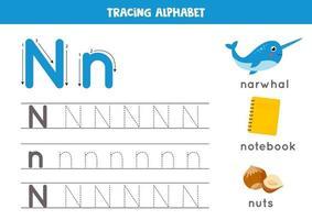 n är för narhal, anteckningsbok, nötter. spåra engelska alfabetets kalkylblad. vektor