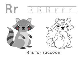 färg- och spårningssida med bokstaven r och söt tecknad tvättbjörn. vektor