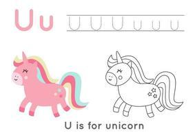 färg- och spårningssida med bokstaven u och söt tecknad enhörning. vektor