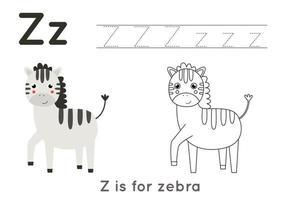 färg- och spårningssida med bokstaven z och söt tecknad zebra. vektor