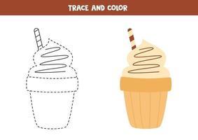 Schokoladeneis nachzeichnen und färben. Arbeitsblatt für Kinder. vektor
