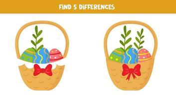 hitta 5 skillnader mellan bilder. påskkorgar. vektor