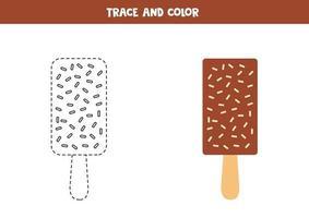 spår och färg chokladglass. kalkylblad för barn. vektor