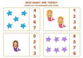 räkna spel med sjöjungfrur och havsstjärnor. matematik kalkylblad. vektor