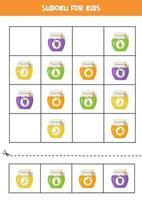 sudoku-spel med färgglada syltburkar med frukt. vektor