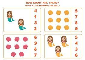 räkna spel med sjöjungfrur och snäckskal. matematik kalkylblad. vektor