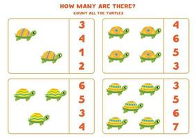 Zählspiel mit niedlichen Schildkröten. Mathe-Arbeitsblatt. vektor