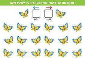 links oder rechts mit süßem Schmetterling. logisches Arbeitsblatt für Kinder im Vorschulalter. vektor
