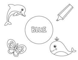 färbe alle blauen Objekte. Grundfarben für Kinder lernen. vektor