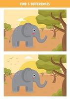 hitta 5 skillnader mellan två söta elefanter. vektor