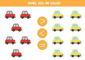 mer, mindre, lika med färgglada tecknade bilar. vektor