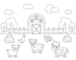 Farbe Nutztiere im Feld. Malvorlagen für Kinder. vektor