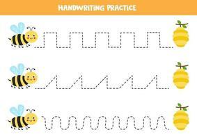 Verfolge die Linien mit niedlichen Bienen und Bienenstöcken. Schreiberfahrung. vektor