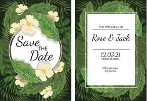 Jubiläums-Hochzeitskarten-Setplakat und Dankeskarte vektor