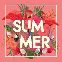 tropiska friuts och flamingos, solnedgångsstrand vektor