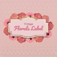 rosa blommig ram med gulddetaljer vektor
